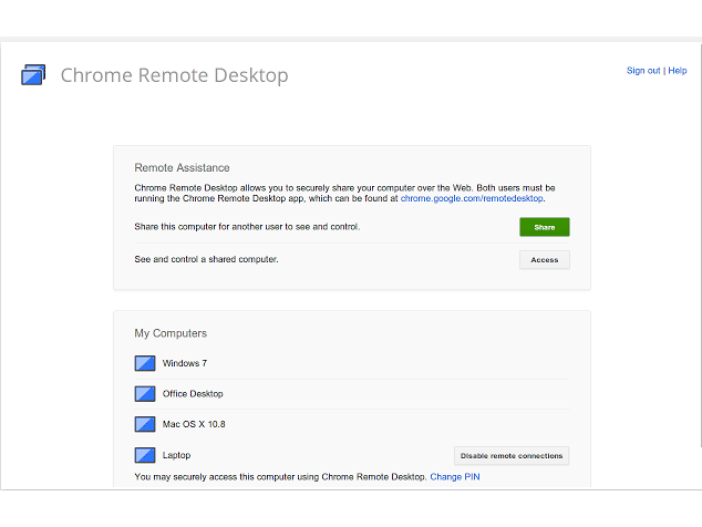 Chrome Remote Desktop App.